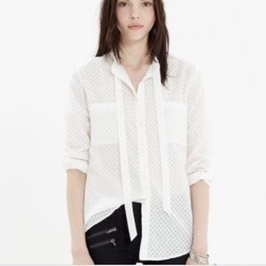 Madewell Tie Neck Blouse Size XS White